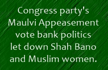shah bano betrayed by Congress
