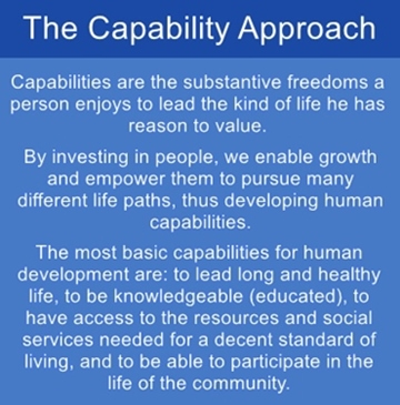Sen's capability approach revolves around people as human beings.