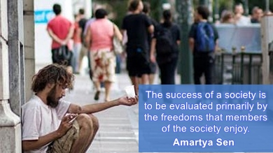 Amartya Sen - Success of a society is to be judged by freedom of people.