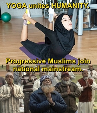 Open minded Muslims practice Yoga
