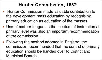 Hunter Commission, 1882