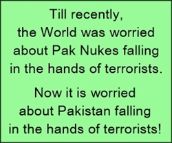 Earlier the world was worried about Pak Nukes falling in the hands of Terrorists, now it's worried about Pakistan falling in their hands!