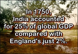 in 1600, India accounted for 25% of global GDP