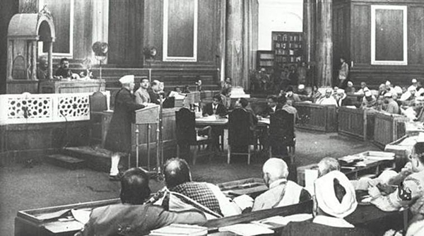 Jawaharlal Nehru addressing the Constituent Assembly