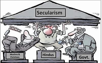 Hindus in India are burdened with fake secularism, designed to please Christians and Muslims