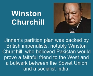 Winston Churchill favored division of India, as Pakistan would be a bulwark between Soviet Union and India