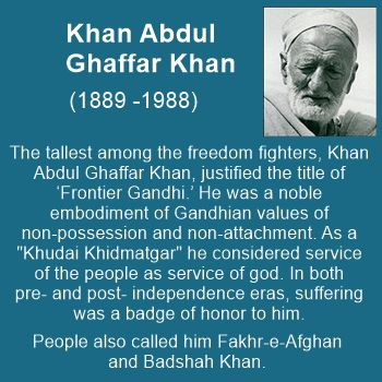 "Khan Abdul Ghaffar Khan was a true Gandhian, known as ""Frontier Gandhi"" and Badshah Khan"