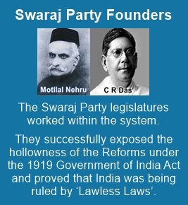 The Swaraj Party members wrecked the British government from within
