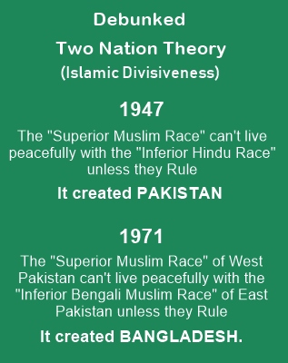 Two Nation Theory is a statement of Islamic divisiveness.