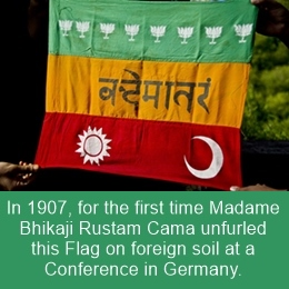 In 1907, Madam Bhikaji Cama unfurled this National Flag in Germany