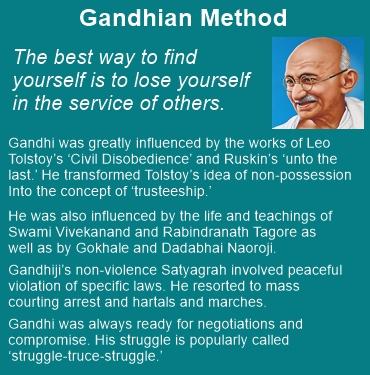 Gandhian method involved peaceful violation of specific laws