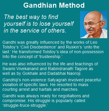 Gandhian method involved peaceful violation of specific laws