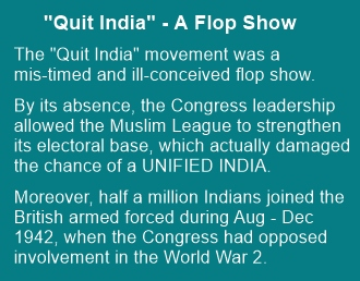 The 'Quit India' Movement was a flop show; it only aided partition of India.