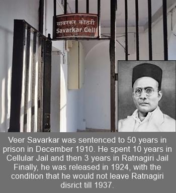 Veer Savarkar spent 10 years in the Cellular Jail during 1911 - 1921.