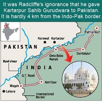 Kartarpur Sahib is only 4 km from Indo Pak border