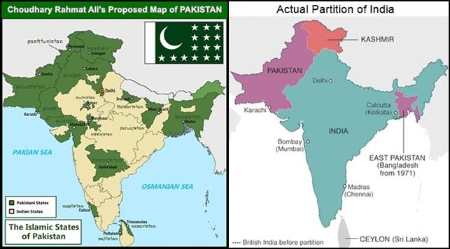 Rahmat Ali map VS Actual Partition map